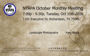 NTAPA October Monthly Meeting